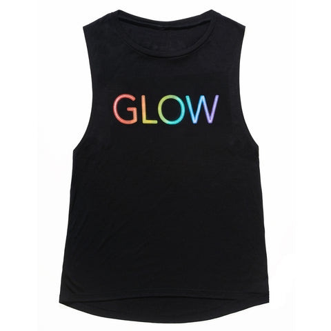 Glow Rainbow Women's Tank Black