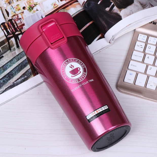 Portable Travel Coffee Vacuum Flask Thermo Water Bottle Car Mug
