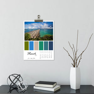 Colors of the Sea 12 Month Calendar With Custom Start Date