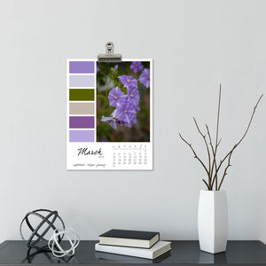 Violaceous 12 Month Calendar With Custom Start Date