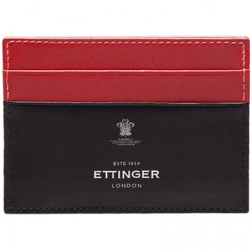 Ettinger Sterling Flat Leather Credit Card Holder, Red and Black