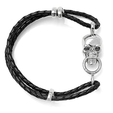 Deakin & Francis Leather Lionhead Bracelet, Black, Length: 7.5 inches