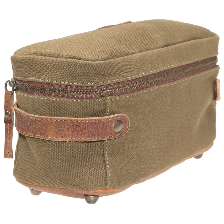 Will Leather Goods Desmond Canvas and Leather Travel Case, Tobacco and Saddle - upscaleman.myshopify.com