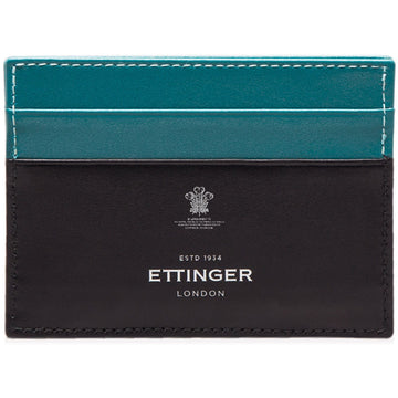 Ettinger Sterling Flat Credit Card Case, Turquoise and Black