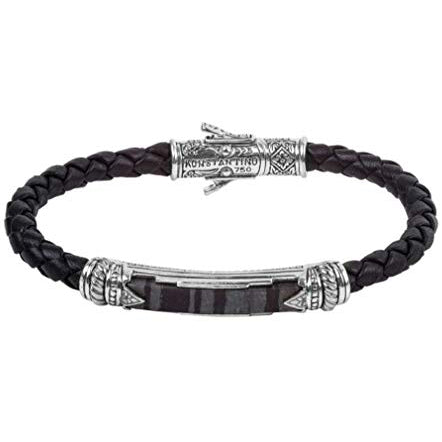Konstantino Ferrite Leather Bracelet, Black, 8.5 IN