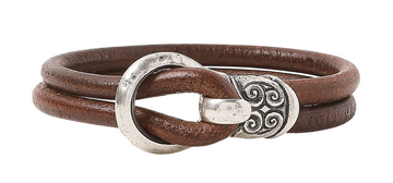 John Varvatos Genuine Leather Sterling Silver Bracelet