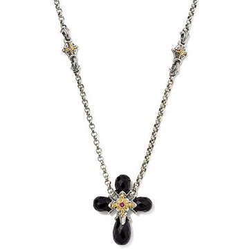 Konstantino Sterling Silver and 18k Black Onyx Corundum Cross