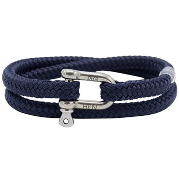 Pig & Hen Men's Salty Steve Rope Bracelet, Navy