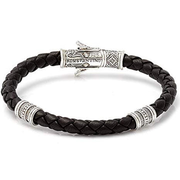 Konstantino Men's Sterling Silver Leather Bracelet, Black, 8.5 Inch