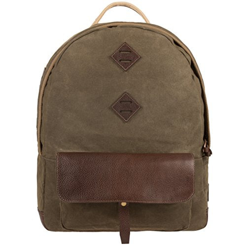 Will Leather Goods Owl Dome Olive Canvas, Brown Leather Backpack