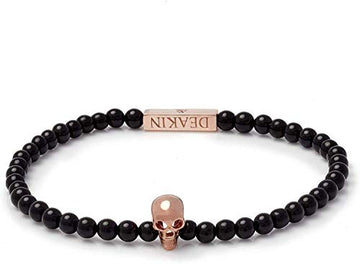Deakin and Francis Black Onyx Bead Bracelet With Sterling Silver Skull, Black, 200mm