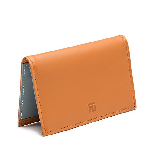 Ettinger Men's Credit Card Case, Tan and Sky Blue