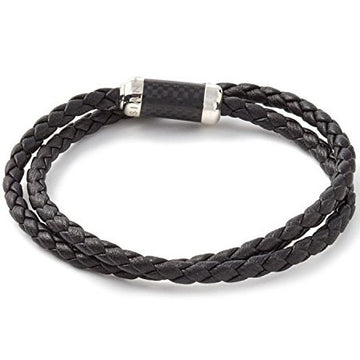 Tateossian Mens MONTECARLO Bracelet in Black and Dark Brown Leather with Sterling Silver and Enamel Clasp, Black and Dark Brown