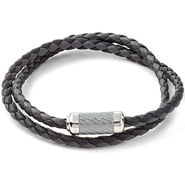 Tateossian Mens Double Wrapped Italian Leather Montecarlo Sterling Silver Clasp Bracelet, Grey
