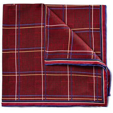 Bruno Piattelli Silk Pocket Square - Plaid with Maroon, Blue and Gold - upscaleman.myshopify.com