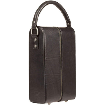 Will Leather Goods Double Bottle Leather Wine Case with Padding - Black
