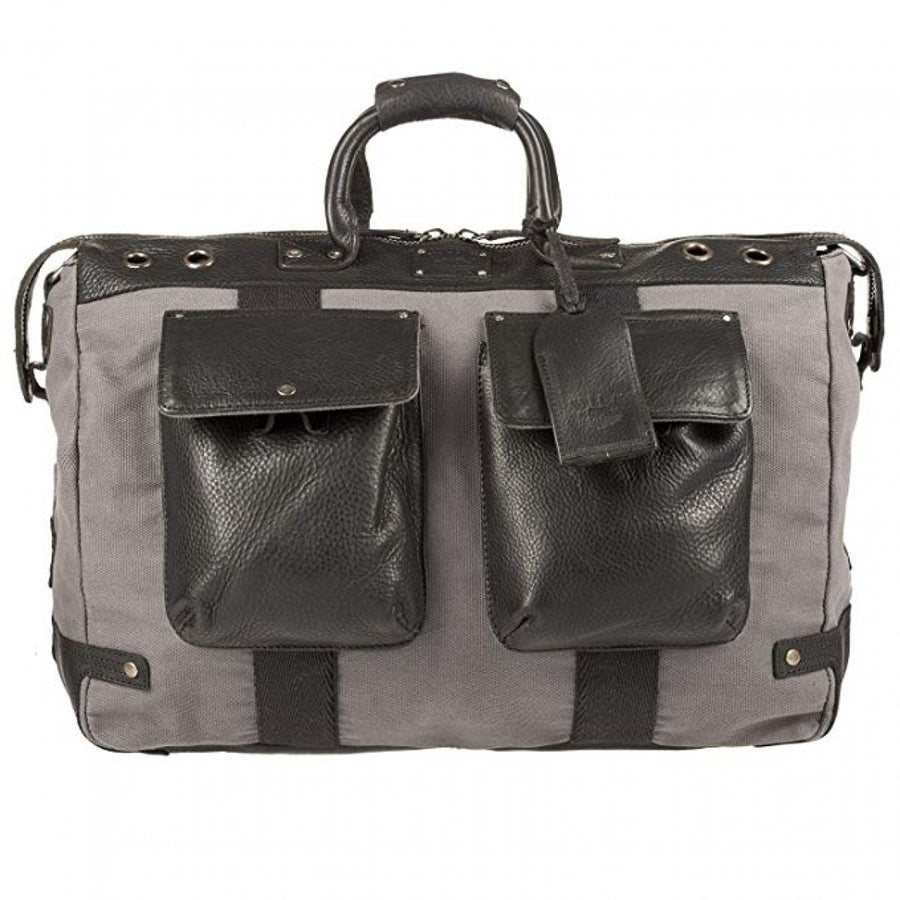Will Leather Goods Men's Grey, Black Canvas, Leather Duffel Bag