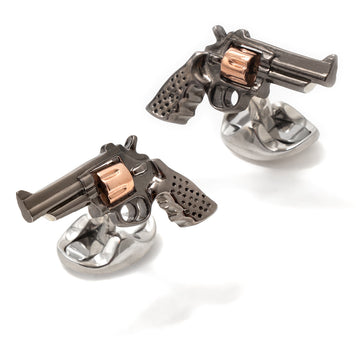 Deakin and Francis Men's Sterling Silver, Gunmetal and Rose Gold Revolver Cufflinks