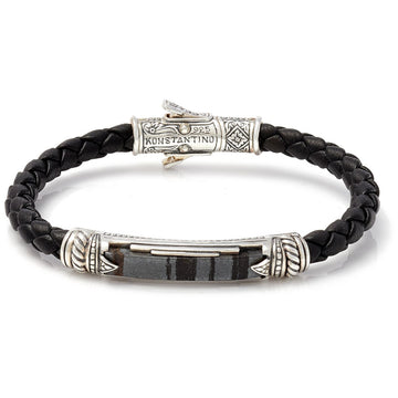 Konstantino Men's Sterling Silver Ferrite Leather Bracelet