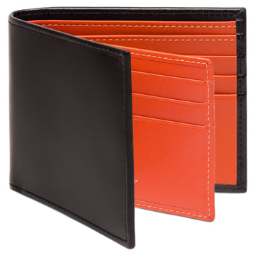 Ettinger Sterling Collection Billfold with 12 Credit Card Slips, Black/Orange
