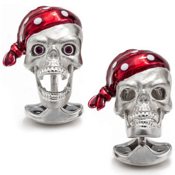 Deakin and Francis Pirate Cufflinks, Sterling Silver Skull with Ruby Eyes and Red Enamel