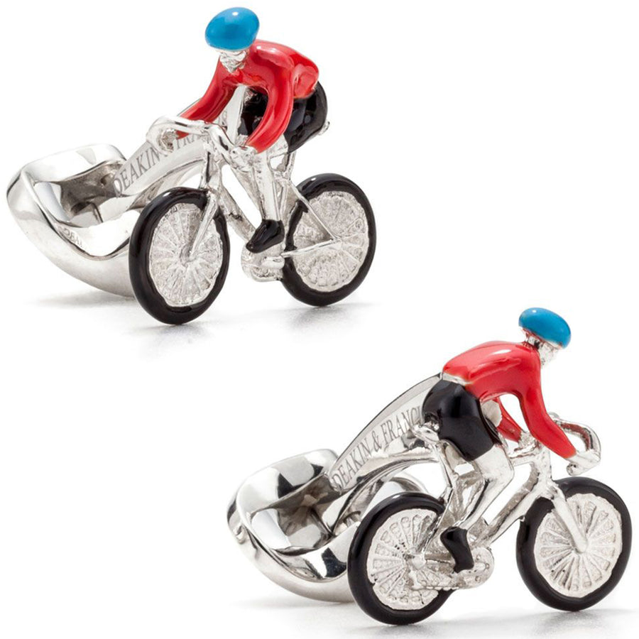 Deakin and Francis Rider and Bike Cufflinks, Sterling Silver