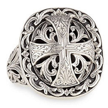 Konstantino Women's 925 Sterling Silver Maltese Cross Ring