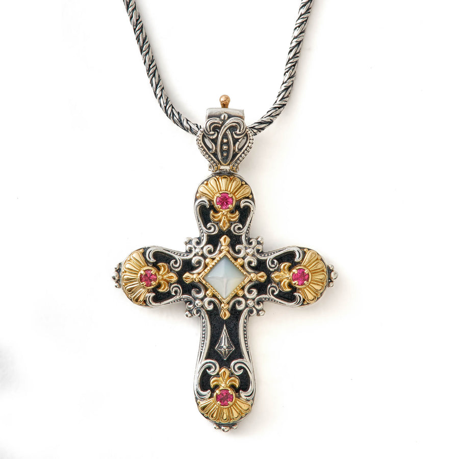 Konstantino Women's Sterling Silver, Pink Tourmaline Mother of Pearl, 18k Gold Cross Pendant, Sterling Silver 18 Inch Chain