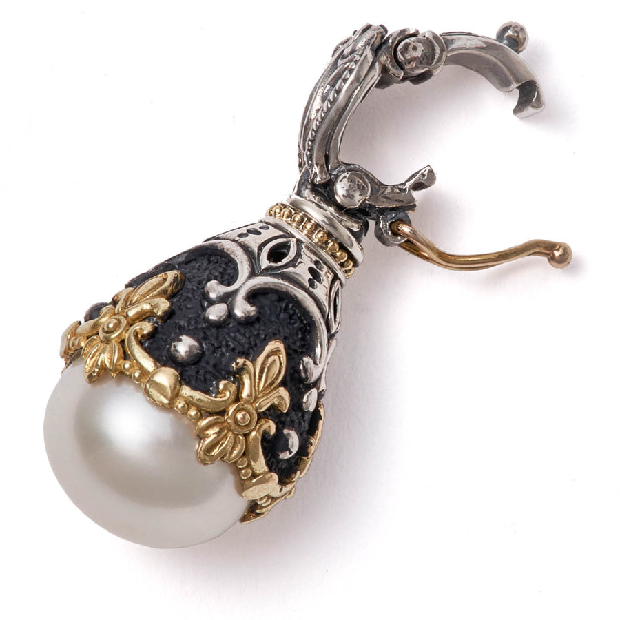 Konstantino Women's Sterling Silver and 18K Yellow Gold, Pearl Nemesis Pendant, Sterling Silver 18 Inch Chain
