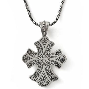 Konstantino Women's Sterling Silver Cross Pendant and 18 Inch Sterling Silver Chain