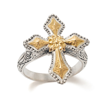 Konstantino Women's Sterling Silver & 18K Gold Cross Ring