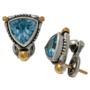 Konstantino Women's Topaz Stud Earrings, Sky Blue