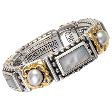 Konstantino Women's Sterling Silver & 18K Gold Band Ring, Hestia Collection