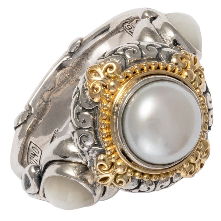Konstantino Women's Sterling Silver & 18K Gold Pearl Ring, Hestia Collection