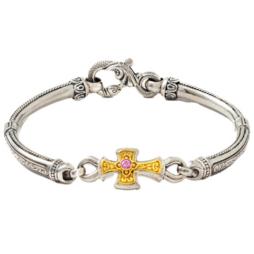 Konstantino Women's Sterling Silver and Gold Pink Sapphire and Garnet Bracelet, 6 1/2
