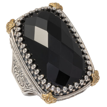 Konstantino Sterling Silver & 18K Gold Rectangular Ring, Black