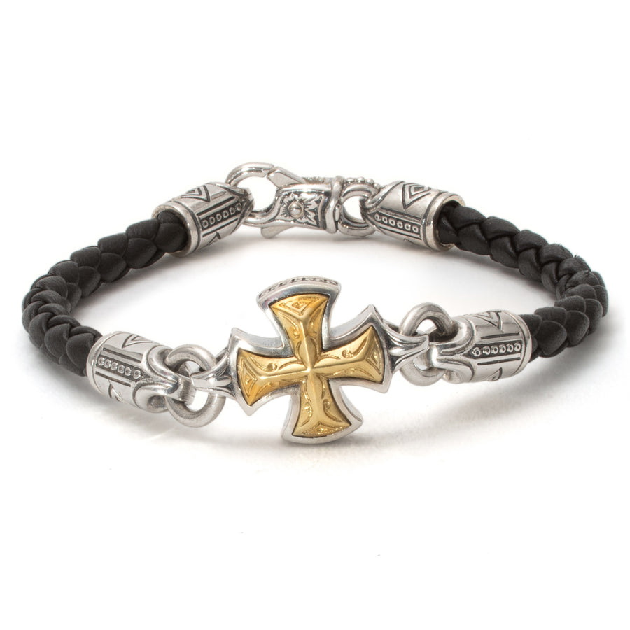 Konstantino Men's Leather Maltese Cross Bracelet, Black, 8.5