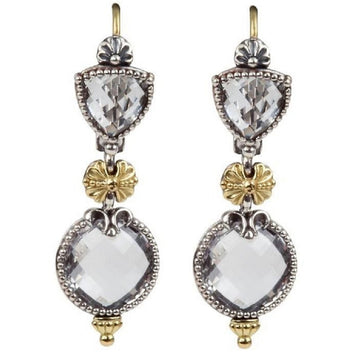 Konstantino Women's Sterling Silver, 18K Gold Crystal Drop Earings, Pythia Collection