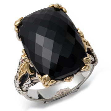 Konstantino Women's Sterling Silver, 18K Gold Ring. Gemstone Onyx, Corundrum, Calypso Collection