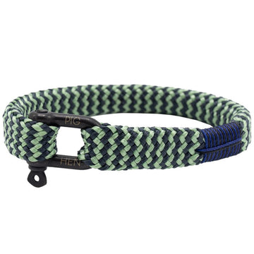 Pig and Hen Men's Bracelet Sharp Simon, Mint Green/Slate Gray with Black Clasp, Medium