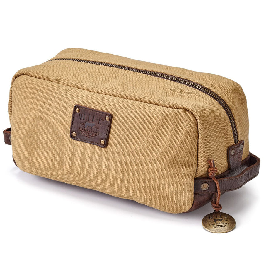 Will Leather Goods Men's Grady Tan Canvas and Leather Travel Kit