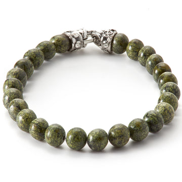 Scott Kay Sterling Silver 8 mm Green Jasper Stone Bracelet