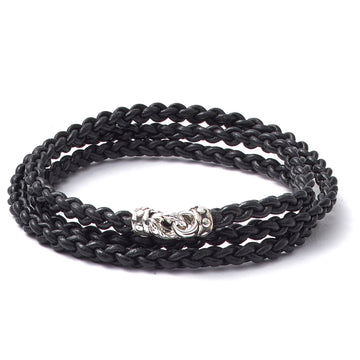 Scott Kay Double Wrap Black Leather Bracelet, Sterling Silver Clasp