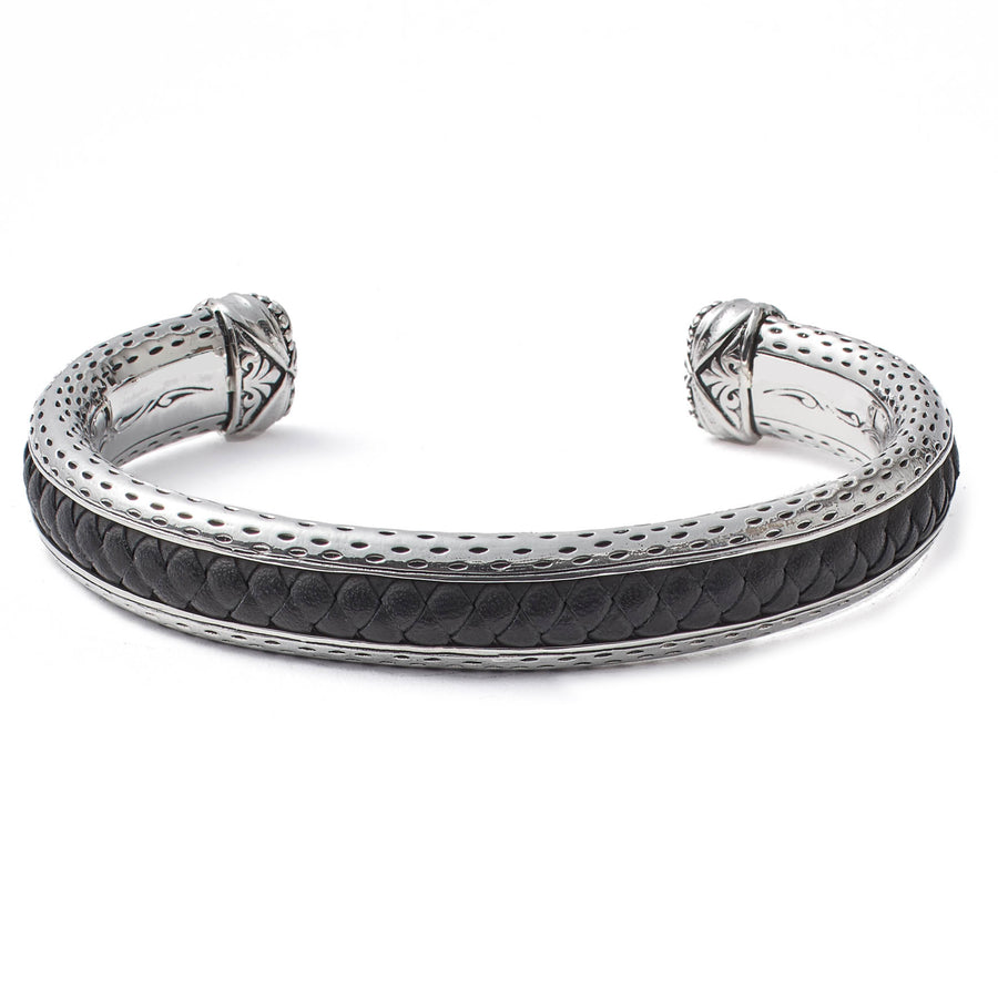 Scott Kay Black Leather Inlay Cuff Bracelet, Sterling Silver Clasp