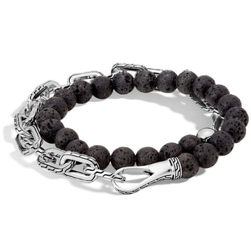 John Hardy Classic Chain Collection Sterling Silver, Black Lava Beads Bracelet, 8 Inch Length - upscaleman.myshopify.com