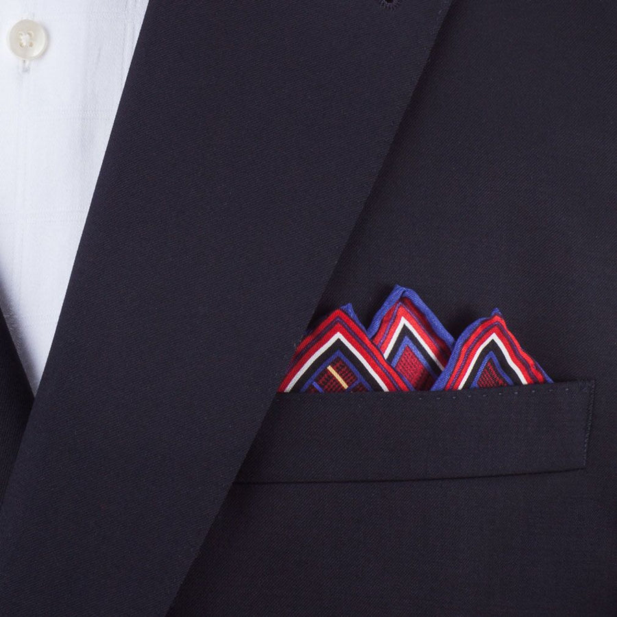 Bruno Piattelli Silk Pocket Square - Plaid with Maroon, Blue and Gold