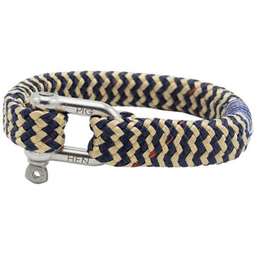 Pig and Hen Men's BomBay Collection Bracelet, Navy/Sand 7.5 Inch