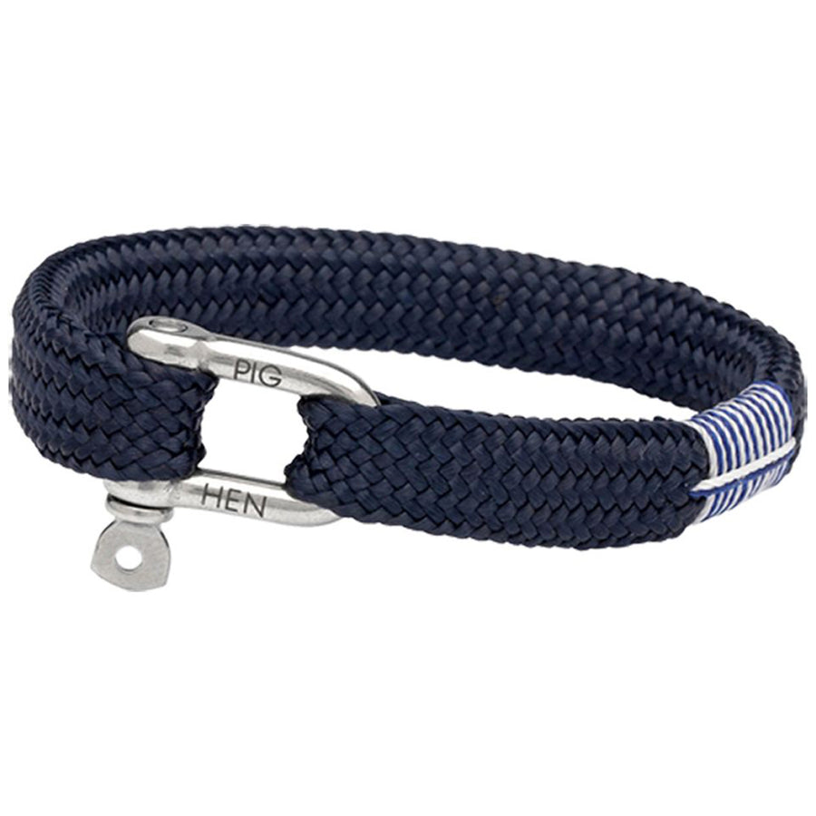 Pig and Hen Men's Bracelet Sharp Simon, Navy with Silver Clasp