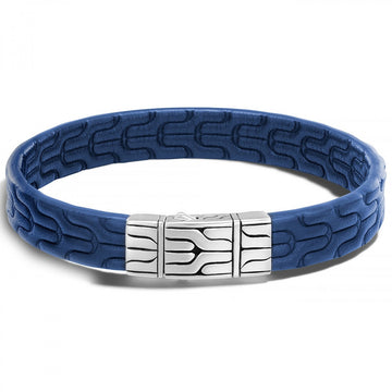 John Hardy Chain Collection 10MM Blue Embossed Leather Station Bracelet, Sterling Silver Clasp - upscaleman.myshopify.com