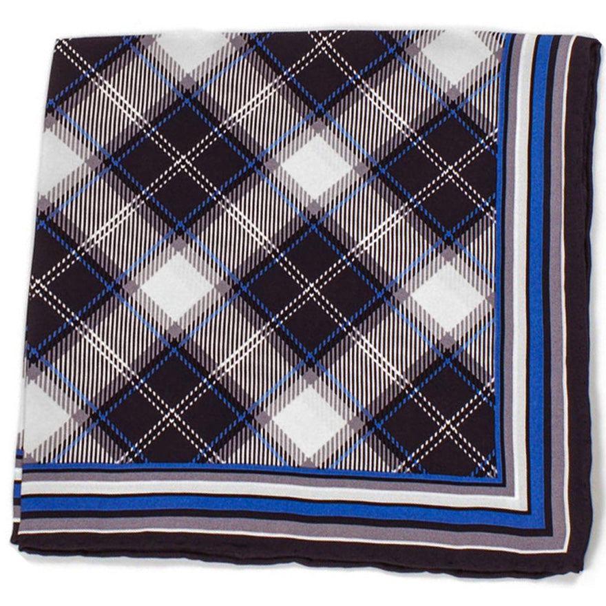 Bruno Piattelli Silk Designer Pocket Square, Plaid with Blue, White and Grey